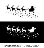 santa claus in the sleigh with... | Shutterstock .eps vector #340679864