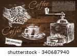 cup of coffee. beautiful... | Shutterstock .eps vector #340687940