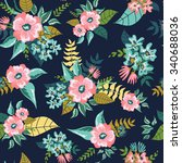 seamless floral pattern... | Shutterstock .eps vector #340688036