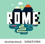 rome city in italy is a... | Shutterstock .eps vector #340691984