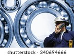 industry worker and giant ball... | Shutterstock . vector #340694666