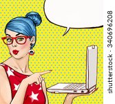 Girl with laptop in the hand in comic style. Woman with notebook.Laptop, gossip. Girl in glasses. Hipster girl. Sexy, blue hair girl. Digital advertisement. MacBook. Business. News, pop art background