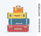 baggage  luggage  suitcases  on ... | Shutterstock .eps vector #340703828