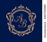 elegant floral monogram design... | Shutterstock .eps vector #340704089