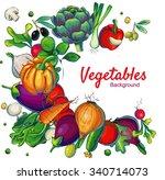fresh vegetables eco vector... | Shutterstock .eps vector #340714073