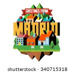 madrid city in spain is a...   Shutterstock .eps vector #340715318