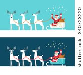 santa claus on sleigh and his... | Shutterstock .eps vector #340723220