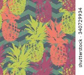 seamless pattern with pineapple ... | Shutterstock .eps vector #340729934