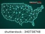 abstract polygonal  map usa... | Shutterstock .eps vector #340738748