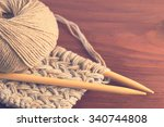 piece of knitted cloth with... | Shutterstock . vector #340744808