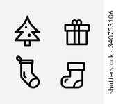 christmas and new year icon set | Shutterstock .eps vector #340753106