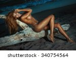 sexy blonde woman posing naked... | Shutterstock . vector #340754564