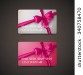gift cards with pink bow and... | Shutterstock .eps vector #340758470