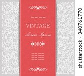 vintage invitation card with... | Shutterstock .eps vector #340761770