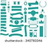 set of green ribbon banners and ... | Shutterstock .eps vector #340783346