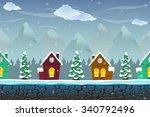 seamless cartoon landscape with ... | Shutterstock .eps vector #340792496