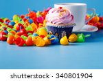 kid breakfast concept. colored... | Shutterstock . vector #340801904