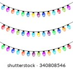 christmas light bulbs isolated... | Shutterstock . vector #340808546