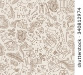 vintage seamless doodles... | Shutterstock .eps vector #340812974
