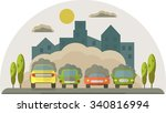 cars pollute the environment.... | Shutterstock .eps vector #340816994