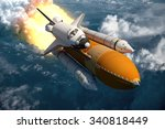 Space Shuttle Flying Over The...