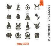 celebration easter icons. .... | Shutterstock . vector #340822019