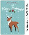 cute cartoon deer. merry... | Shutterstock .eps vector #340822526