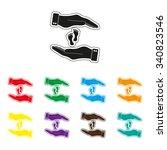 hand holds baby leg   color... | Shutterstock .eps vector #340823546