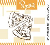 pizza vector illustration. fast ... | Shutterstock .eps vector #340826930