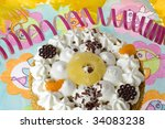 a round birthday cake with cream | Shutterstock . vector #34083238
