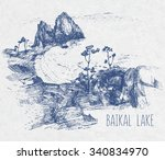 blue hand drawing landscape of... | Shutterstock .eps vector #340834970