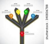 1 to 4 vertical diverging roads ...   Shutterstock .eps vector #340836788