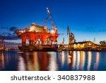 oil rig in the shipyard for... | Shutterstock . vector #340837988