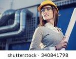beautiful woman engineer is...   Shutterstock . vector #340841798