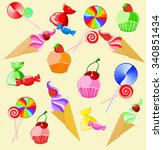illustration of sweets | Shutterstock . vector #340851434