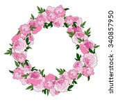pink floral wreath with peonies.... | Shutterstock .eps vector #340857950