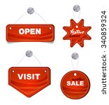 red stickers. promotions offers ... | Shutterstock .eps vector #340859324