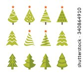 set of bright green christmas ... | Shutterstock .eps vector #340864910