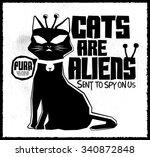 Cats Are Aliens   Funny Vector...