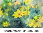 Yellow Flowers And Watercolor...