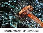 iron hammer breaking glass... | Shutterstock . vector #340890053