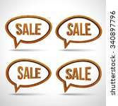 wooden sale sign speech bubble... | Shutterstock .eps vector #340897796