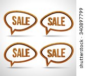 wooden sale sign speech bubble... | Shutterstock .eps vector #340897799