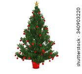 christmas tree decorated with... | Shutterstock . vector #340903220