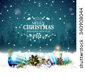 christmas greeting card with... | Shutterstock .eps vector #340908044