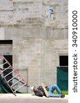 a fallen injured construction... | Shutterstock . vector #340910000
