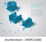 3d digital pixel font  ghi.... | Shutterstock .eps vector #340911680