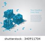 3d digital pixel font   abc....   Shutterstock .eps vector #340911704