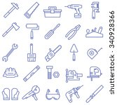 a set of tools in a flat style. ... | Shutterstock .eps vector #340928366