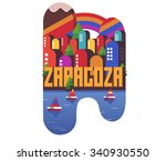 zaragoza in spain is beautiful... | Shutterstock .eps vector #340930550